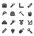 Black Construction objects and tools icons vector image vector image
