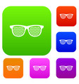 black pinhole glasses set collection vector image vector image