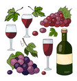 bottle with wine grapes and wine glasses on a whi vector image
