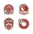 bowling emblem and design element logotype vector image vector image