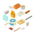 building materials icons set isometric style vector image vector image