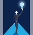 businessman holding bulb idea creativity business vector image