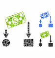 cash flow mosaic icon round dots vector image vector image