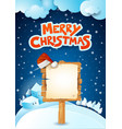 christmas signboard and text on snowy background vector image