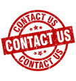 contact us round red grunge stamp vector image vector image