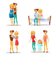 couple and child of cartoon vector image vector image