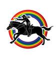 cowboy riding horseaiming gun on line rainbows vector image