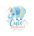 cute elephant logo design emblem can be used vector image