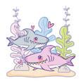 cute shark couple animal with seaweed plants vector image
