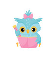 cute wise owl reading a book school education and vector image vector image