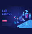 data analysis dark neon light isometric web banner vector image vector image