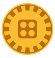 dice gold casino chip vector image