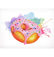 Donut with pink icing watercolor painting vector image vector image