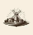 farm rural landscape logo or label agriculture vector image vector image