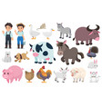 farmer and farm animal graphic elements vector image vector image