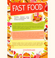 fast food poster for fastfood restaurant vector image