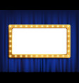 gold frame on blue velvet curtain vector image