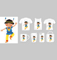 graphic indian boy on different types of vector image vector image