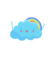happy blue cloud with adorable face and little vector image vector image