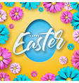 happy easter design with colorful flower and paper vector image