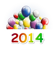 happy new year 2014 greeting card with balloons vector image