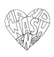 heart and hand washing text vector image vector image
