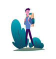 hiking man with backpack traveller or explorer vector image vector image