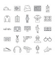 hiphop rap swag music dance icons set outline vector image