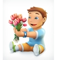 Little boy with bouquet of flowers vector image vector image