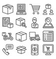 logistics and order icons set on white background vector image