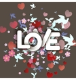Love white Word with flowers hearts and birds