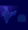 map of india from polygonal blue lines and glowing vector image