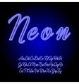 Neon tube hand drawn alphabet font vector image vector image