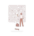 office worker analysing maze businessman with vector image