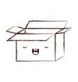 opened kawaii cardboard box in monochrome blurred vector image vector image