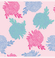 pattern with hand drawn chrysanthemums flowers vector image vector image