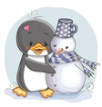 Penguin and snowman vector image