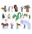 performers and entertainment icons set vector image vector image