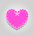 pink and white paper cut lacy heart sticker with vector image vector image