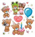 set cartoon teddy bears on a white background vector image vector image