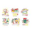 set minimalistic logos for celebrating teacher vector image
