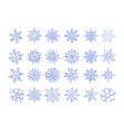 set of ice snowflakes blue flake of snow gradient vector image