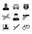 Set of monochrome police icons - gun car crime vector image vector image