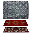set of three carpets gray and red vector image