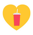 soda drink glass with straw fast food menu heart vector image