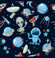 space seamless background astronaut alien ufo vector image