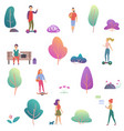 summer people activity in park icons set vector image vector image