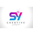 sy s y letter logo with shattered broken blue vector image vector image