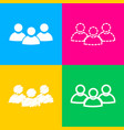 team work sign four styles of icon on four color vector image vector image