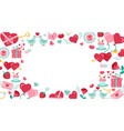 valentines day background with icon set vector image